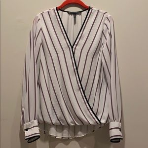 WHBM size 8 white &red striped top